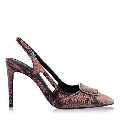 Imagine Pantofi Decupati Dama 5509 Pitone Nude
