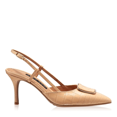 Imagine Pantofi Decupati Dama 5843 Croco Nude