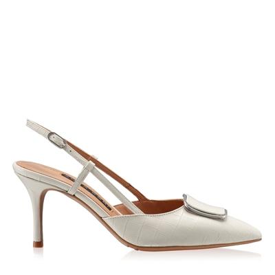 Imagine Pantofi Decupati Dama 5843 Croco Avorio